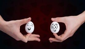 Faces felizes do smiley no tema do dia de Valentim Imagens de Stock Royalty Free