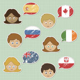 Faces and flag stickers Stock Photos