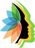 Faces flower logo. Illustration art of a faces flower logo with isolated background stock illustration