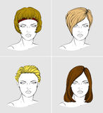 Faces of four women with different hair styles Stock Photos