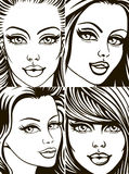 Faces of the girls. Isolation Royalty Free Stock Photo