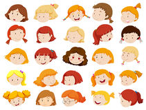 Faces of girls in different emotions Royalty Free Stock Photos