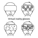 Faces with glasses of virtual reality, linear icons. On white background Royalty Free Stock Photography