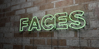 FACES - Glowing Neon Sign on stonework wall - 3D rendered royalty free stock illustration Stock Images