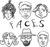 Faces. Graphic illustration with faces of people of different ages and characters Royalty Free Stock Photography