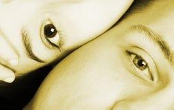 faces half sepia two Στοκ Φωτογραφίες