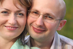 Faces of happiness man and woman. Royalty Free Stock Photography