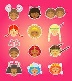 Faces and heads of 12 zodiac signs vector illustration