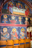 Faces of the Holy Apostles in the mural painting in the Temple in Monastery Rezevici in Montenegro royalty free stock photography