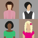 Faces. Icons with images of women with different types of appearances royalty free illustration