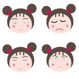Faces. Illustration cartoon girl faces icon on white background Royalty Free Stock Photography