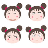 Faces. Illustration cartoon girl faces icon on white background Royalty Free Stock Images