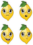 Faces of lemons. Four faces of lemons with differents emotions Royalty Free Stock Photography