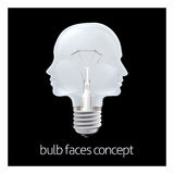 Faces Light Bulb Concept. A conceptual illustration of faces in the shape of an electric lightbulb Royalty Free Stock Image