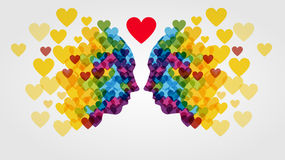 Faces made of colorful hearts Royalty Free Stock Photography