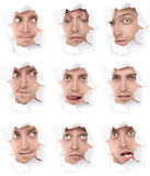 Faces of the man in a paper hole royalty free stock images