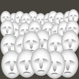 Faces. Many similar faces in crowd in graphic style Vector Illustration
