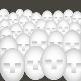 Faces. Many similar faces in crowd in graphic style Stock Illustration