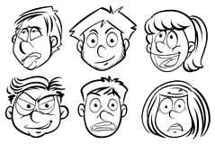 Faces of men and women stock illustration
