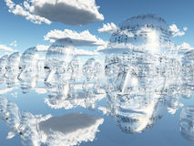 Faces of Music. Floating cloned faces covered with musical notations royalty free illustration
