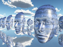 Faces of Music. Floating cloned faces covered with musical notations stock illustration