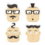 Faces with mustaches and glasses. Faces with mustaches, glasses - vector illustration Royalty Free Stock Photo