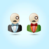Faces with mustaches, monocle, suits ,and a bow ti Royalty Free Stock Photo