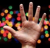 Faces nos dedos Imagem de Stock Royalty Free