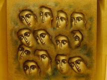 Faces - painting on the wall Royalty Free Stock Images