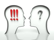 Faces with question mark and exclamation, concept. Heads with question marks and exclamation, concept of misunderstanding Royalty Free Stock Photos
