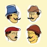 Faces of retro-mens with mustache Stock Photo