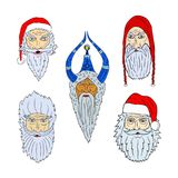 Faces of Santa Clauses of different countries. On transparent background Royalty Free Stock Photo