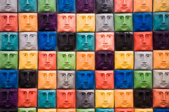 Faces, sculpture in Aveiro, Portugal Royalty Free Stock Photo