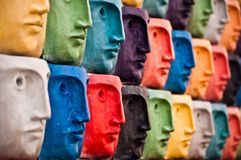 Faces, sculpture in Aveiro, Portugal Stock Images