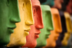 Faces, sculpture in Aveiro, Portugal Royalty Free Stock Images