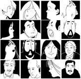 Faces. Series of line drawing faces Royalty Free Stock Images