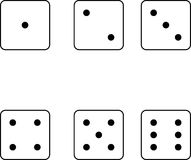 Faces of set of dice. Illustrated set of faces of dice showing different numbers of spots isolated on white background Stock Image