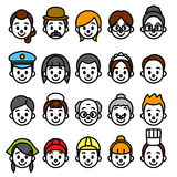 Faces set, occupational category. File vector illustration