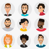 Faces set, People avatars collection. Human user icons, happy person flat design vector Stock Images