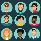 Faces set, People avatars collection. Human user icons, happy person flat design vector Royalty Free Stock Image
