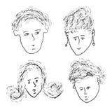Faces sketches set Royalty Free Stock Photos