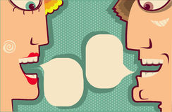 Faces Speaking and bubbles for text.Vector Cartoon Stock Photos