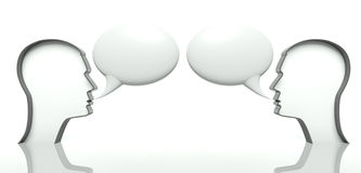 Faces with speech bubbles for text, communication Royalty Free Stock Images
