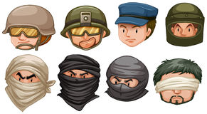 Faces of terrorists and soldiers Royalty Free Stock Photo