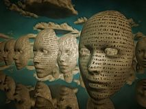 Faces of text hover in surreal space. Text is from HG wells the time machine band is in the public domain. Human elements were created with 3D software and are Stock Images