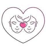 The faces of two girls in love, gay women together, in the shape of a heart. vector illustration