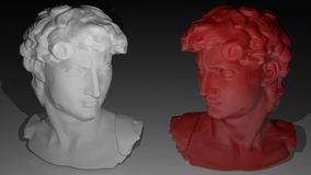 Faces. Two specular faces, one white, the other red Stock Image