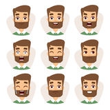 Faces vector characters mosaic of young beard man expressing different emotions icons. Royalty Free Stock Image