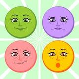 Faces. Vector illustration. Faces. Joy sadness surprise question. Vector illustration Stock Photos