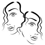 Faces of Women Clip Art. An abstract art portrait of 2 women's faces in black outlines showing half their faces side by side with just a little flow of hair Royalty Free Stock Images